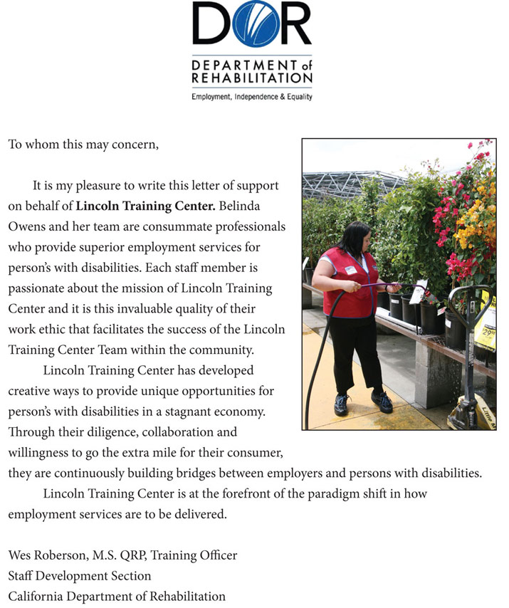 Belinda Owns of Lincoln Training Center receives great recommendation from the Department of Rehabillitation