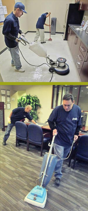 Jerry Espinosa with buffer-stripper cleaning floor while Ramon Gonzales who is mopping the floor at Royal Business Bank in San Gabriel Thursday October 29, 2009. Miguel Moreno polishes a desk in back while Hector Zarate vacuums at Royal Business Bank in San Gabriel Thursday October 29.
